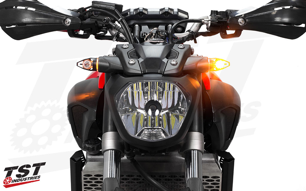 The super bright SMD style LED provides ample light output. (shown installed on Yamaha FZ-07)