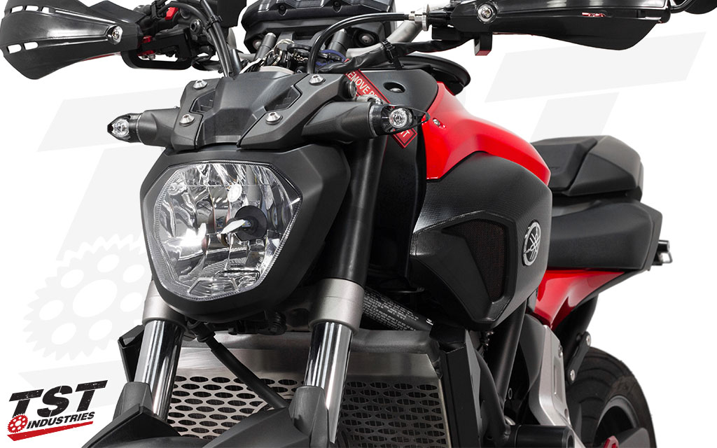 Designed to match the hypernaked sportbike aesthetic. (shown installed on Yamaha FZ-07)
