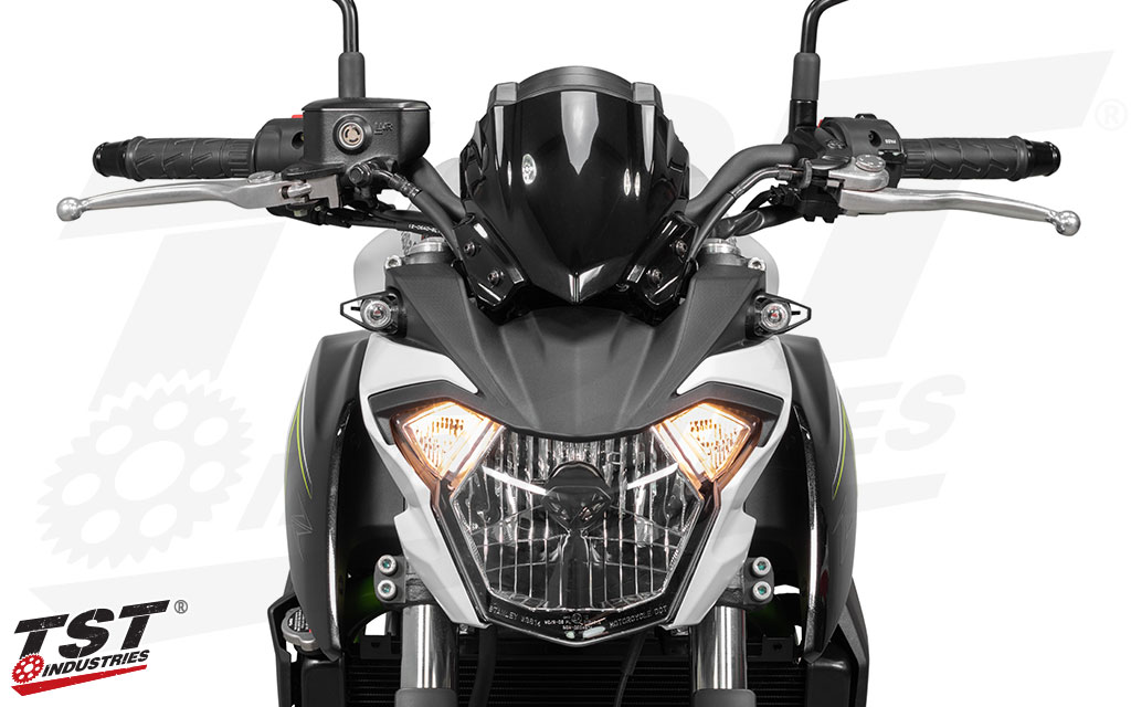 Kawasaki Z650 shown with the MECH-GTR LED Front Turn Signals without the Running Light Kit.