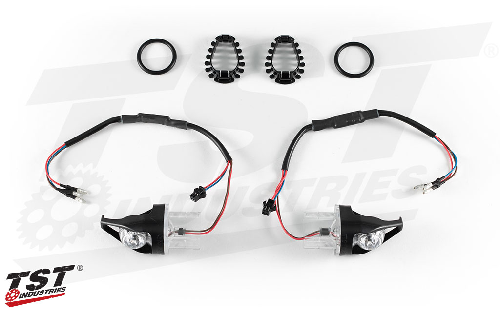 TST MECH-GTR Front LED Turn Signals for Kawasaki Z900, Z650, and Z400. Shown without running light components.