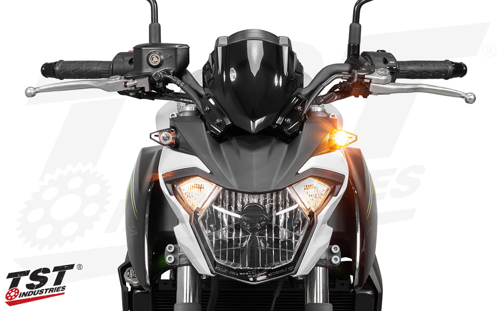 Add style and safety to your Kawasaki with bright LED turns signals from TST Industries.