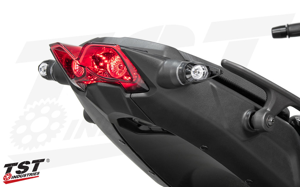 Pair the TST MECH-GTR LED Rear Turn Signals with the LED Integrated Tail Light for a complete overhaul of your Niken tail section.