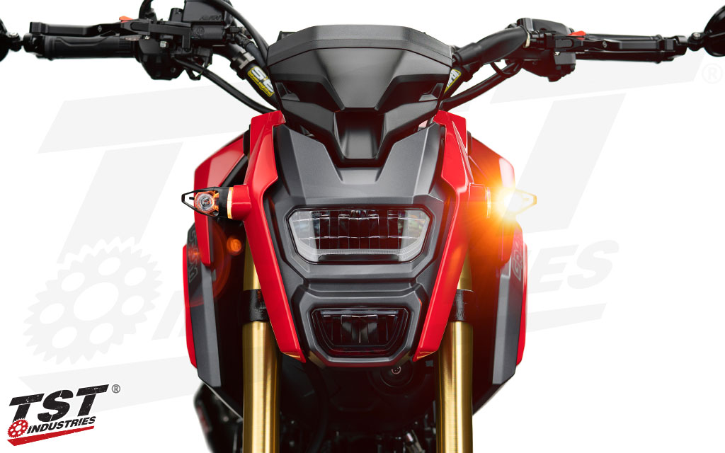 Extremely bright turn signals help drivers notice you while on the Honda Grom.