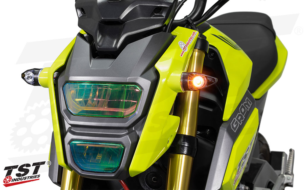 Upgrade your Honda Grom with bright TST LED MECH-GTR Front Turn Signals.