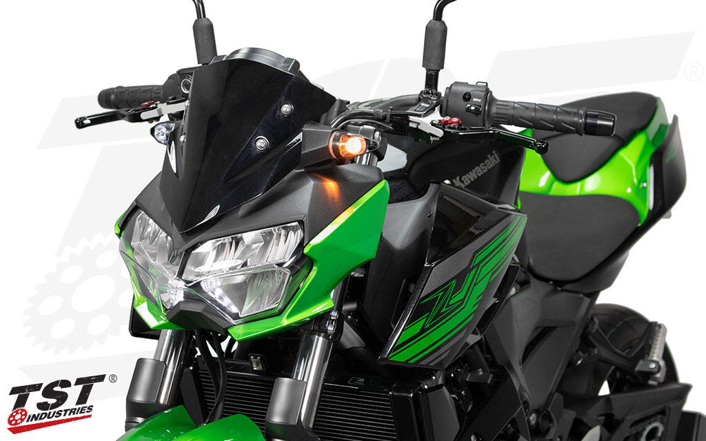 Kawasaki Z400 shown with the TST MECH-GTR LED Turn Signals.