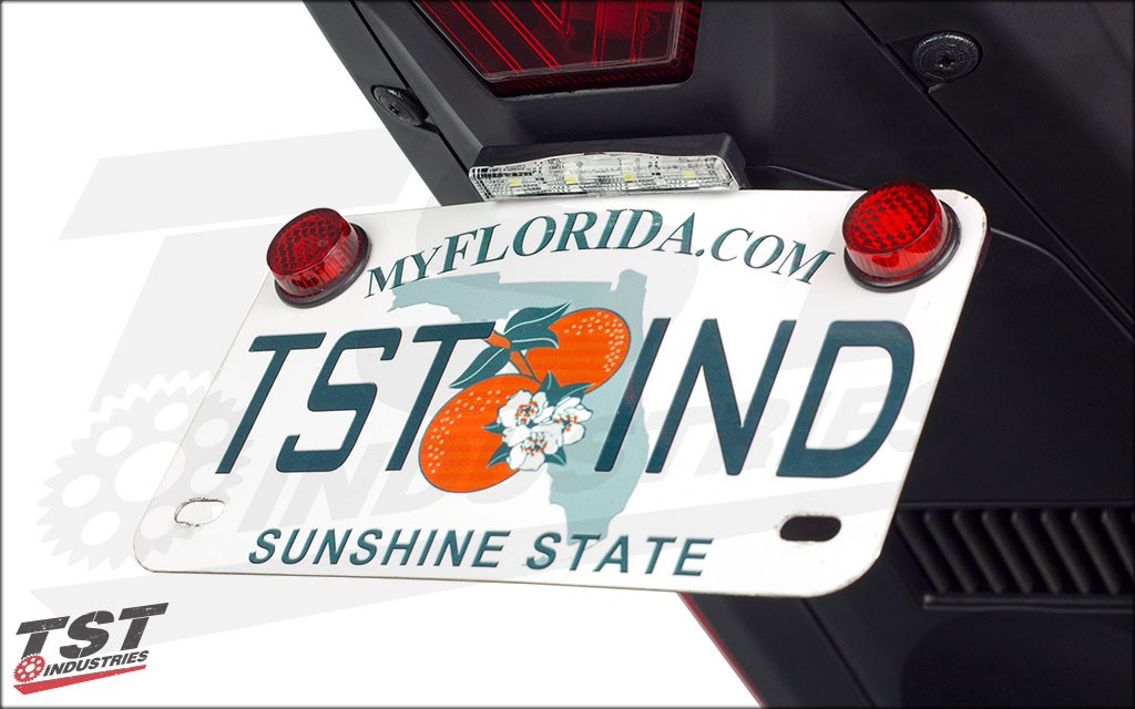 Combine with the TST Stealth License Plate Light for a compact solution.