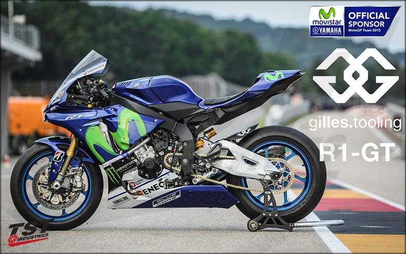 Gilles Tooling also sponsors other racing divisions. This race-ready R1 has a Mue2 rearset installed for the track.
