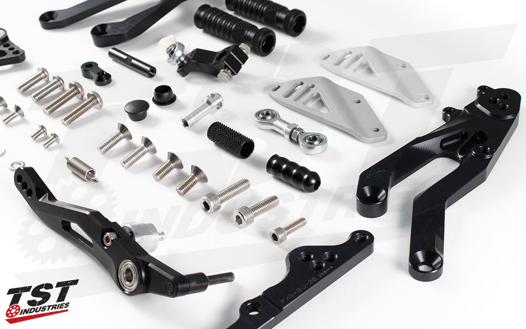 High quality components make up the Yamaha YZF-R3 Factor-X Rearsets from Gilles Tooling.