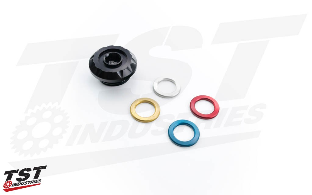 Further customize your cap by inserting one of the four included anodized color inserts.