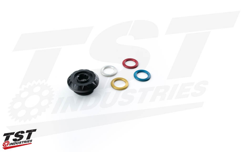 Includes red, silver, gold, and blue insert accent rings with a durable anodized finish.