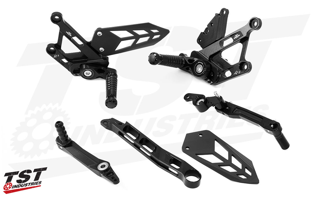 Individual components included with this high performance rearset kit.