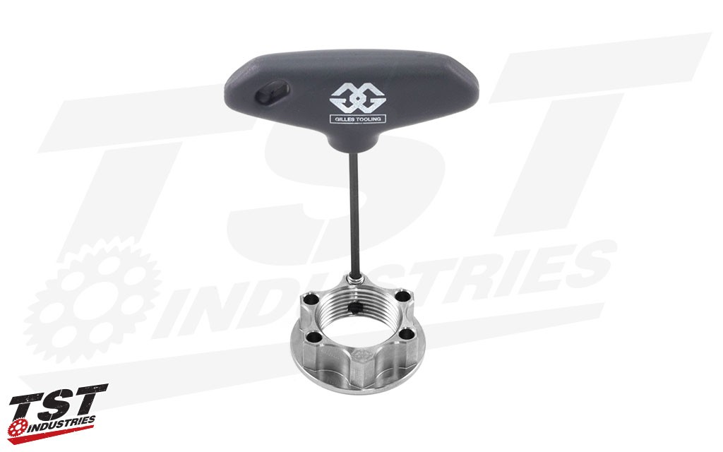 Gilles rear axle nut also contains a unique pin-interlock system that uses friction to keep the nut secure.