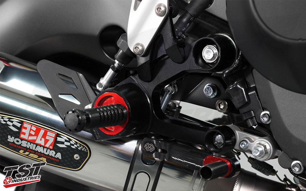 Black and red anodized finish to provide a durable finish.