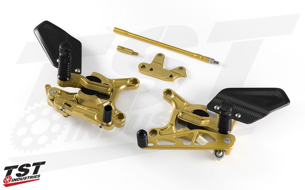 Available in gold/ black or all black anodized finishes.