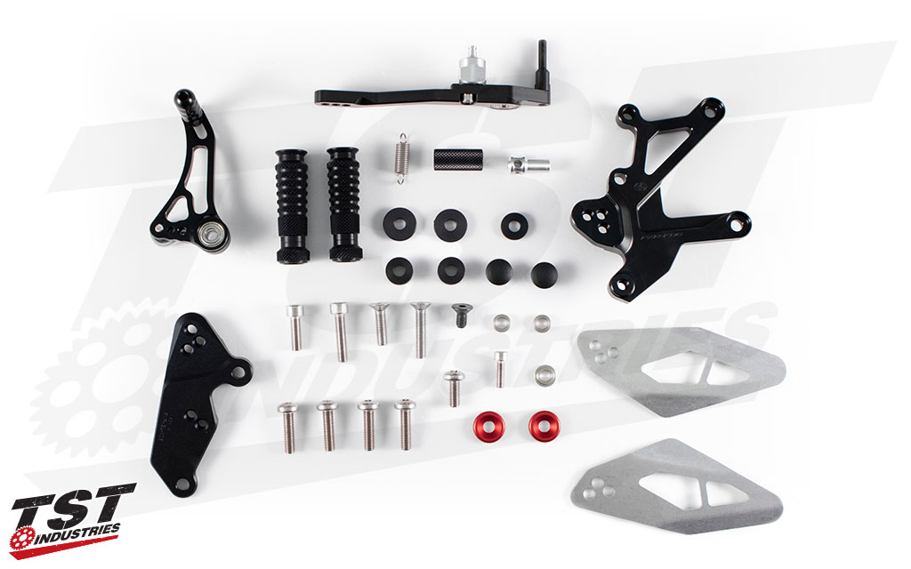 High quality components make up the Factor-X Rearset kit.