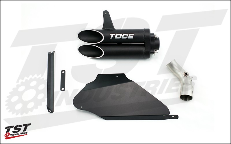 What's included in the Toce Performance T-Slash Slip-On Exhaust for the 2012-2016 Honda CBR1000RR.