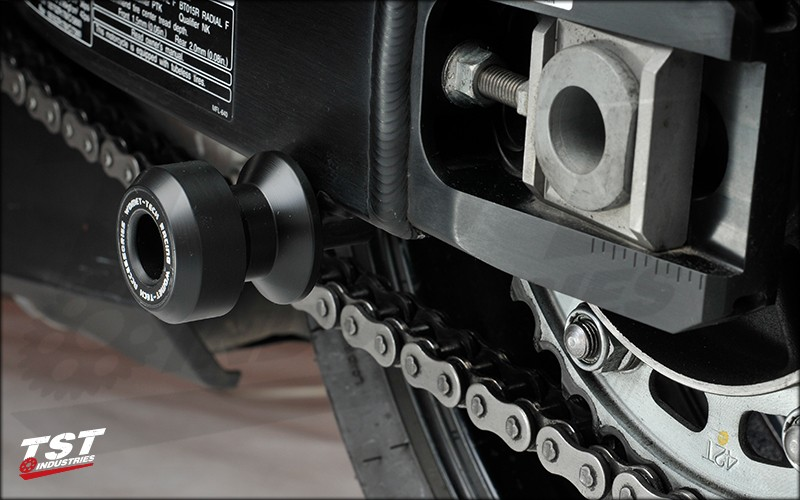 Swingarm Spools Sliders protect your swingarm and rear wheel.