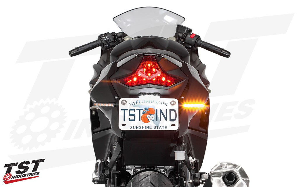 Give your Kawasaki a modern look with the TST LED BL6 rear pod turn signals. (clear shown)