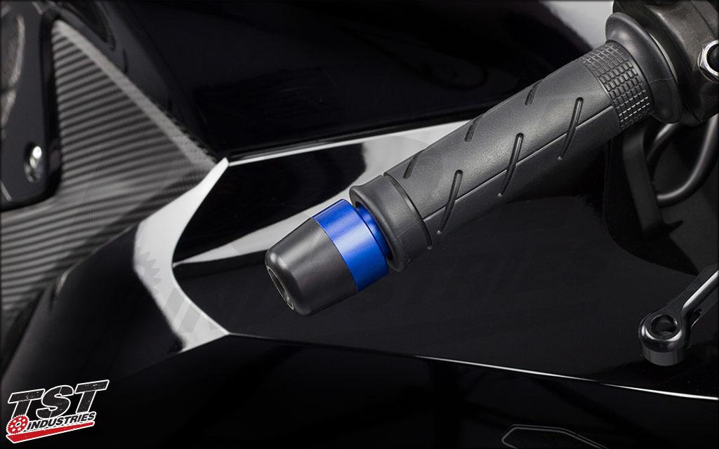 Anodized blue aluminum bar ends.