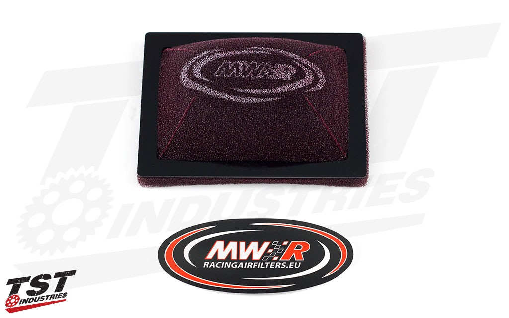 MWR Racing Air Filter for the 2015+ Yamaha YZF-R3. (Full Race version shown)