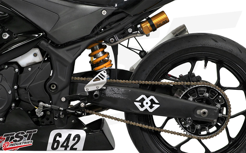 We use the Ohlins STX 46 Hypersport rear shock on our Team TST CCS Superstock Yamaha R3.