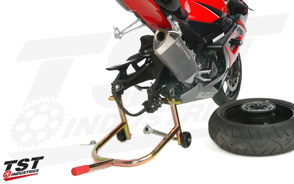 Easily perform rear tire maintenance or store your motorcycle for extended periods of time.