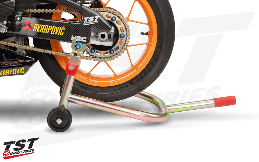 Lift the rear of your motorcycle for easy maintenance or storage.