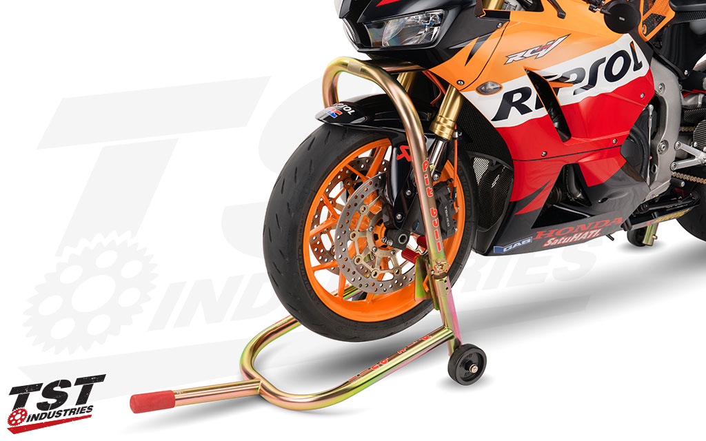 Enables you to lift the front of your motorcycle from the lower triple tree as pictured.