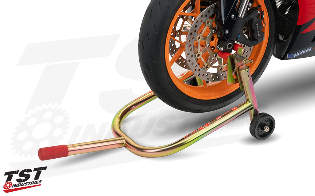 Use the Pit Bull Hybrid Swivels to lift the front of your motorcycle from the lower fork bottoms.