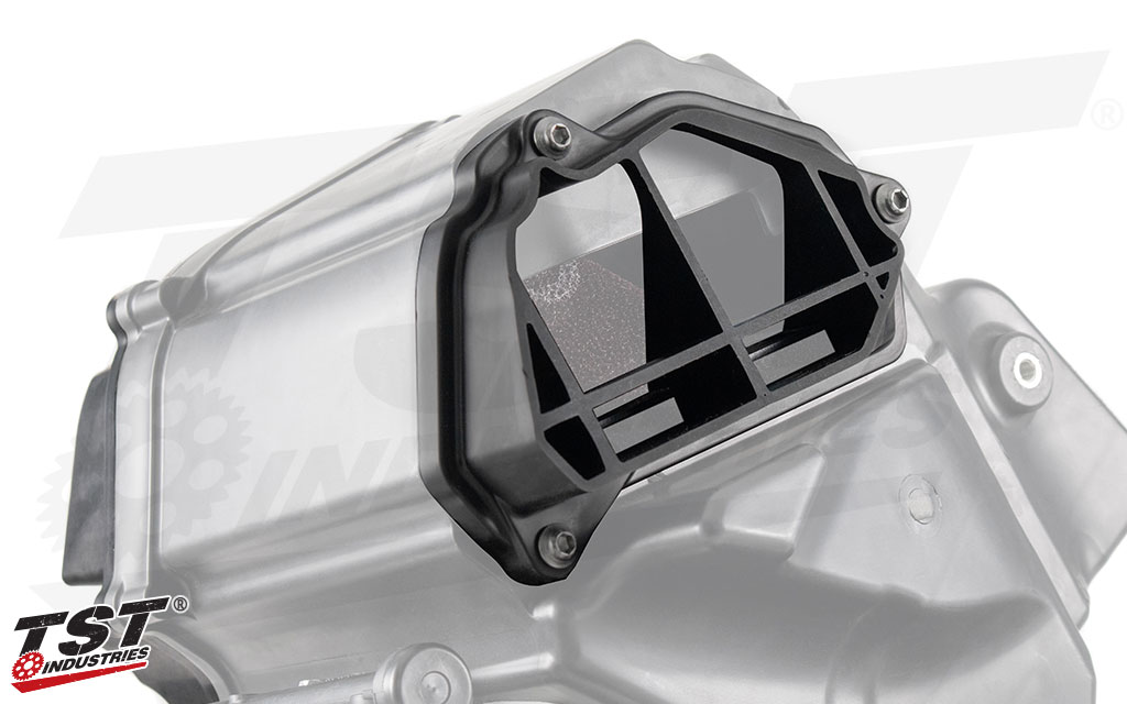 Right TST WORX Airbox Cover shown installed on the 2015+ Yamaha airbox.