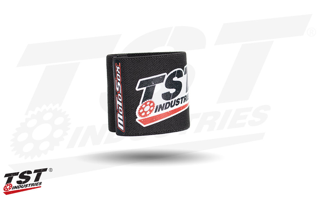 Features two TST logos on the tight knit MotoSox front brake reservoir sock.