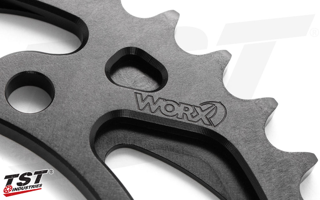 The TST WORX Rear Sprocket was designed bring performance to the track or street.