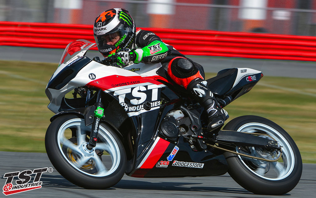 Developed, tested, and proven on our Moto3 National Championship winning TST R3 Superbike.