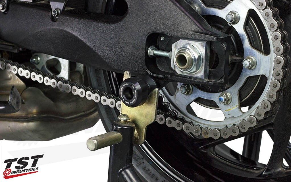 Protect your swingarm with the Womet-Tech Spool Sliders.