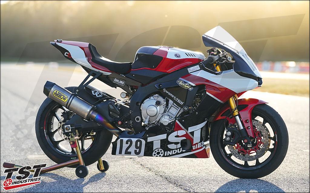 Our in-house TST Yamaha R1 race bike with custom painted Sharkskin fairings.