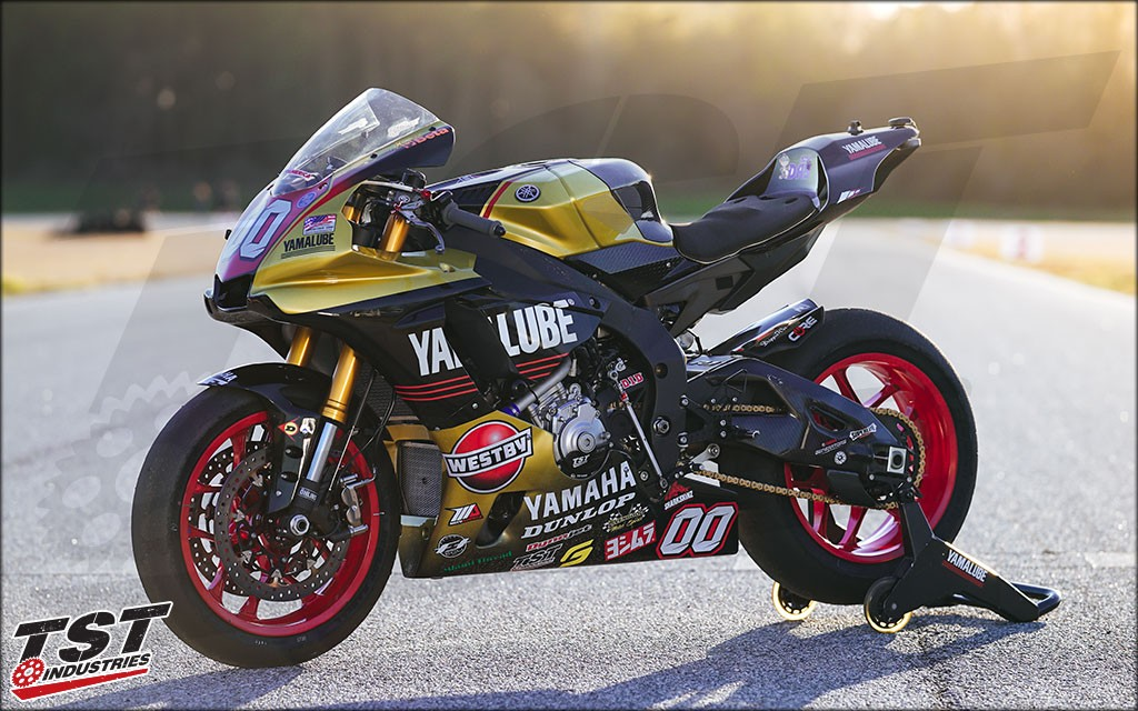 MotoAmerica Team Westby's R1 with their beautiful livery on Sharkskin fairings.