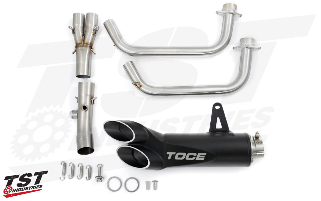 What's included in the Yamaha R3 Toce Razor Tip Full Exhaust System.