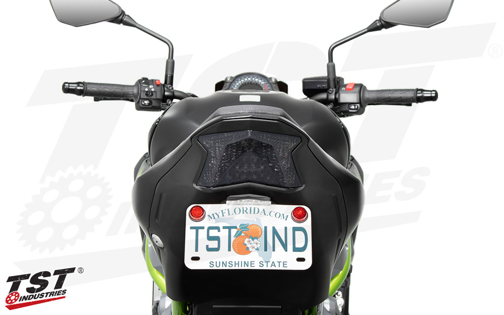TST LED Integrated Tail Light shown with the TST Z900 Fender Eliminator system.