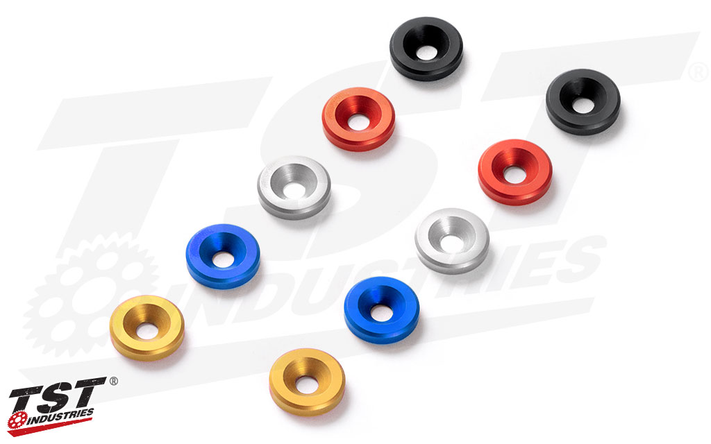 Available in five different anodized colors.