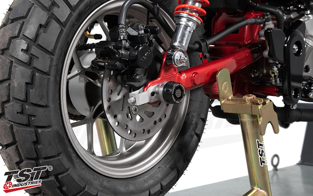 Stainless steel mounting base and the delrin slider puck come together to provide high quality crash protection.