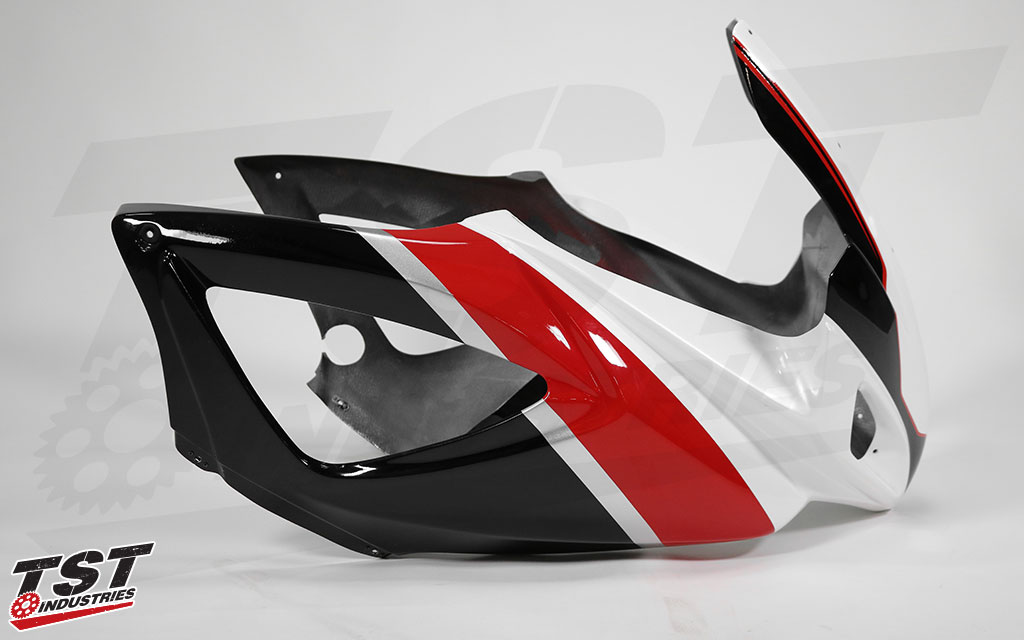 Sharkskinz upper race fairing with professional paint job from Andrew Swenson.
