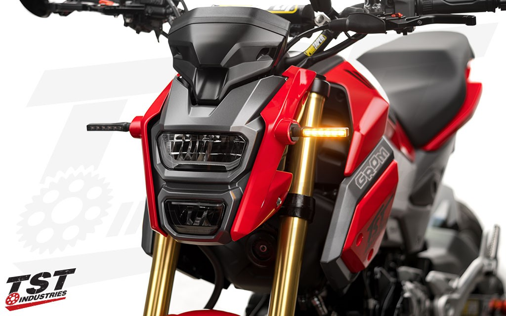 TST BL6 Smoke LED Pod Signals on the 2017+ Honda Grom. (Smoke version shown)