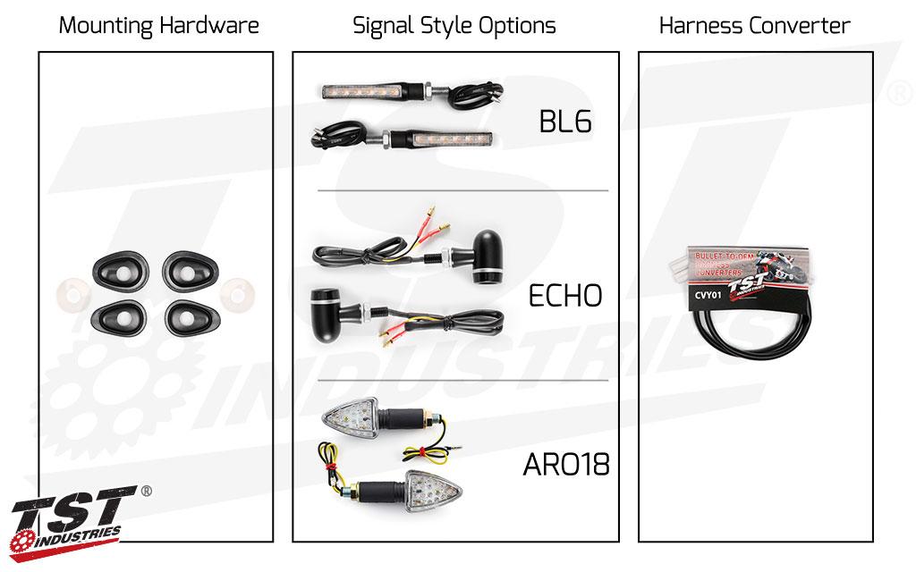 TST LED Front Pod Turn Signal Bundle for Yamaha Motorcycles.