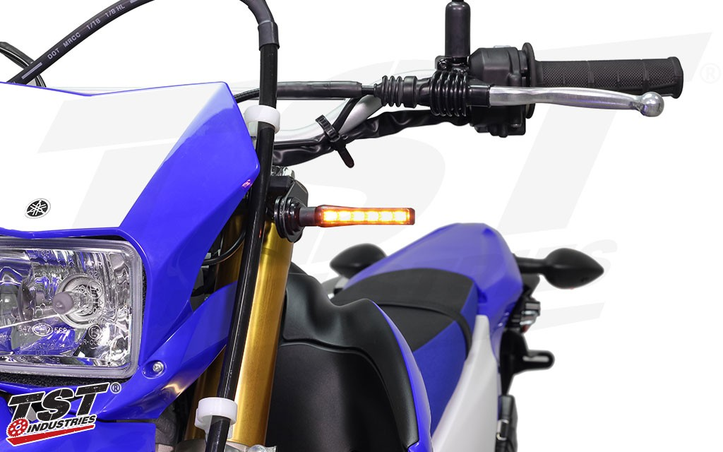 Upgrade your Yamaha WR250R / WR250X with the TST Industries LED BL6 Front Turn Signals.