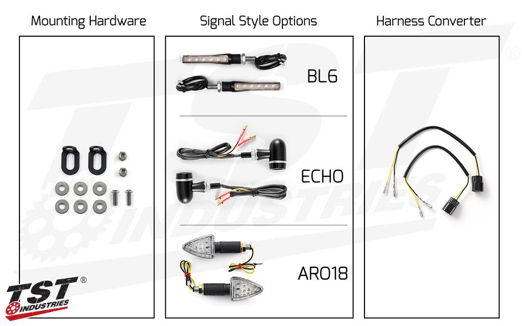 TST Industries LED Rear Pod Turn Signal Bundle for Select Kawasaki Motorcycles