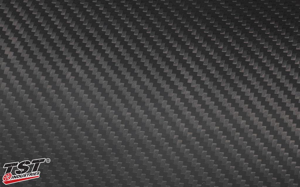 TST twill carbon fiber with a matte finish.