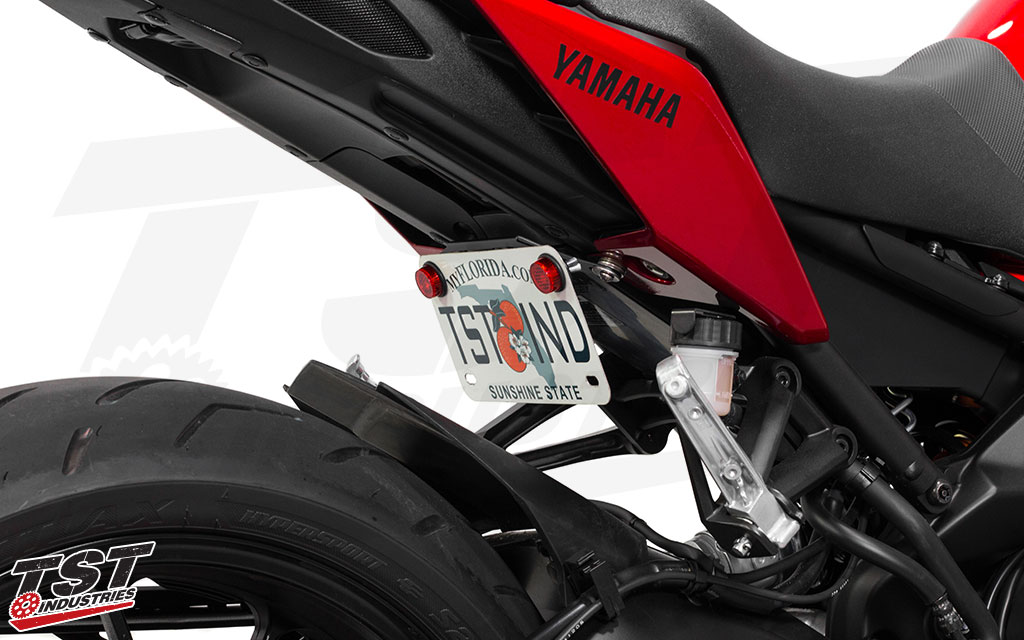 TST Industries Elite-1 Fender Eliminator for the 2017+ Yamaha FZ-09 MT-09 can be mounted in a low position under the seat for a tucked and sleek look