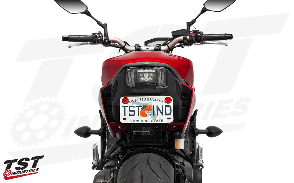 """2017+ FZ-09 Elite-1 Fender Eliminator shown in the """"Stock"""" mounting location. Possible with the fixed and the adjustable bracket."""
