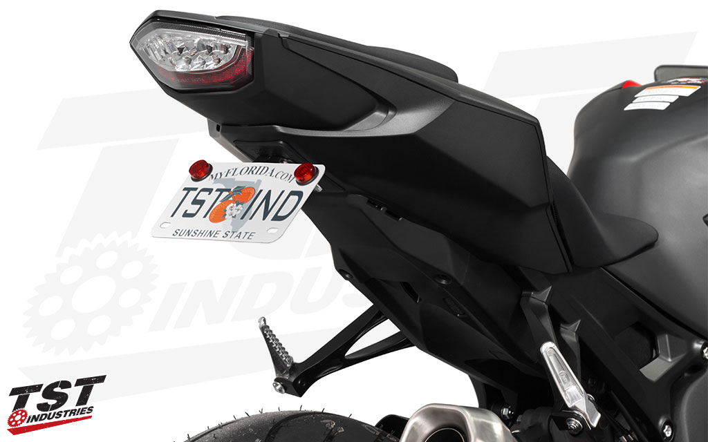 Ditch the oversized stock rear fender and gain a sleek, race-inspired look. (Standard plate bracket shown)