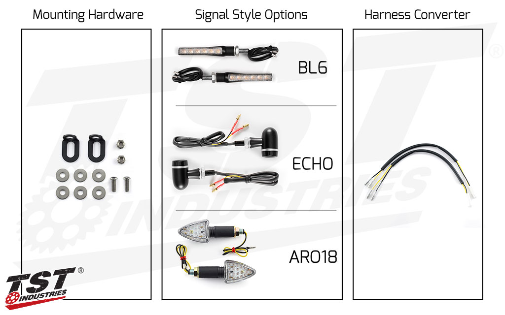TST Industries LED Rear Pod Turn Signal Bundle for Kawasaki.
